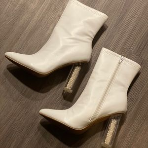 Classic White Pearl Heeled Boots